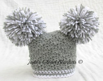 Crochet Gray and White Baby Pom Pom Hat, Grey, 0 to 18 months
