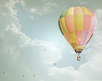 Hot Air Balloons Photography Print Fine Art New Mexico Yellow Blue Pink Whimsical Clouds Sky Landscape Photography Print.