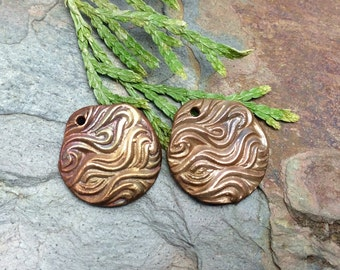 Matching Pair Artisan Copper PMC Wave Charms.