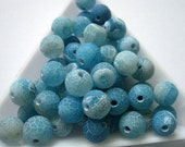 Blue Dream Fire Dragon Veins Agate Round Beads 8mm