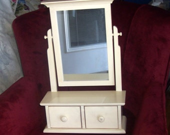 rustic distressed antique white swiveled mirror with drawers vintage
