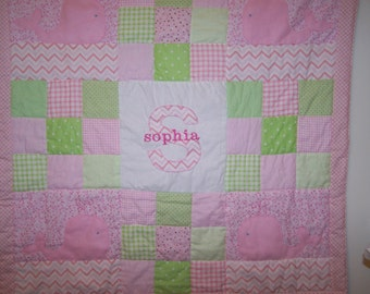 Hand Appliqued Whale with Pink and Green Patchwork Baby Girl Quilt with Personalization/Name