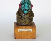 Jeremy Hillary Boob - Nowhere Man - Handmade Sculpture, Polymer Clay, Wood - Sale, free shipping.