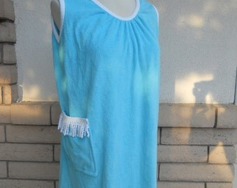 80s TurquoiseTerry Cloth Cover Up Tent Tunic by Coco Bay S-M