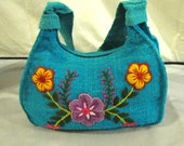New handwoven 100% teal green wool embroidered flowers yellow purple bag purse tote