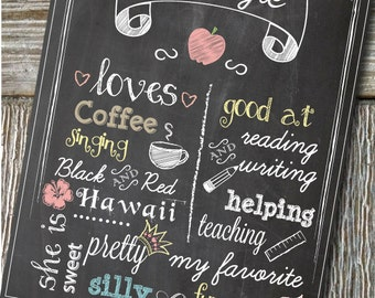 "Custom Chalkboard Teacher, Coach or Friend Appreciation, Gift 8x10"" printable poster"