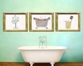 Wall Art for Bathroom, You Choose 3 pieces, Kids Bathroom, Set of 3, Wash Hands, Bathtub, Scrub a Dub, Brush Teeth, Colorful, Clean, Vintage