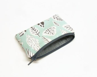change purse coin purse zipper pouch zipper bag leaves aqua gray