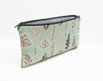 zipper pouch pencil case makeup bag leaves aqua gray