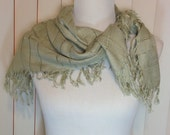 """Vintage Large Pale Green Rayon Scarf with Fringe 31.75""""  Wide & 32"""" Long, Rayon Scarf or Wrap, Made in India Previously 20 Dollars ON SALE"""