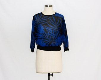 Vintage 80s Electric Blue & Black Palm Tree Pattern Sweater