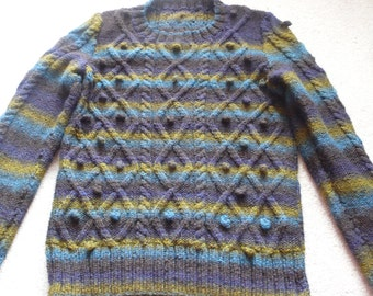Beautiful handknitted sweater deep shades of olive brown purple teal noro style cable S