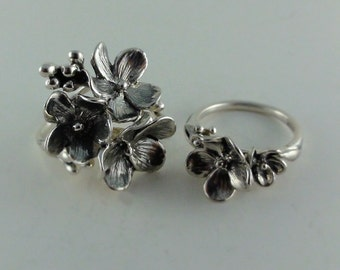 Mom's and Daughters matching rings, Forget me Not Rings, Silver Mom's and Daughters Floral Rings, Silver Ring Set, For me and my Daughter