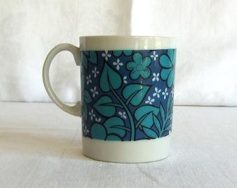 Vintage Blue Floral China Mug - Hawaiiana, Tiki, Mid Century, Made in Japan, Lobeco, Turquoise, Deep Mediterranean Blue, Mid Century, Retro