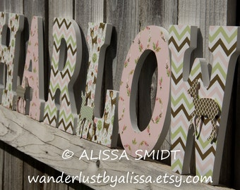 Custom Nursery Wooden Letters, Baby Girl Nursery - Deer/Fawn Theme Custom Letters (deer, fawn, pink, sage green, brown) 9 inch size