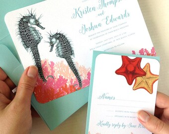 Seahorse Wedding Invitations, Tropical Wedding Invitations, Beach Wedding Invites, Aquarium Wedding Invites, Florida Wedding Invitations