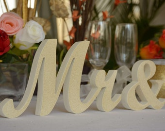 Wedding Mr & Mrs signs for Table Decoration - Ivory with GOLD dust on picture 1, Lavender on pic 5