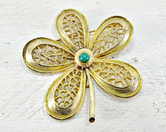 Vintage Gold Flower Brooch Pin, Gold Filigree Brooch, Flower Power Brooch, 1960s 1970s Hippie Spring Summer Jewelry, Mothers Day Gift