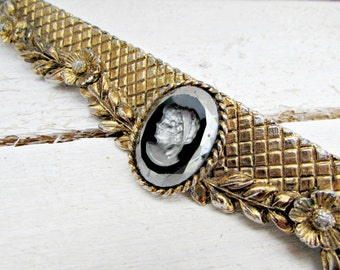 Vintage Purse Frame Clasp, Ornate Gold Floral Purse Frame, Carved Intaglio Black Glass Cameo, 1950s Purse Accessory