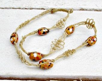 Vintage Mens Hemp Necklace, Orange Venetian Millefiore Glass Bead Necklace, Hemp Choker Necklace, 1970s Mens Vintage Hippie Beach Jewelry