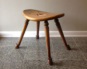 Barnard and Simonds Curved Saddle Seat Stool with Hoof Feet