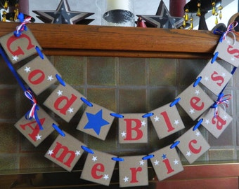 Fourth of July Decorations- Americana Decor- Patriotic Decor- God Bless America banner- July 4th Decor Photo Prop