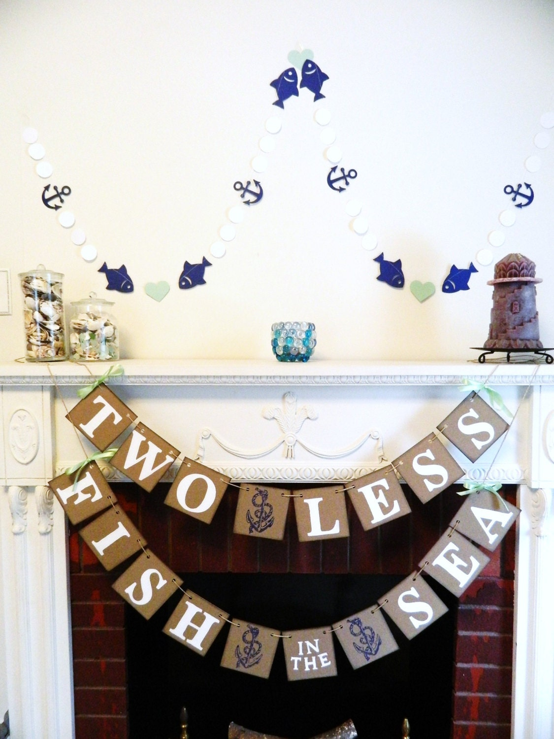Two less fish in the sea banner nautical wedding decor for Home decorations for less