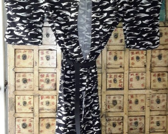 Kimono Black & White Stylized Abstract Striking Unisex Robe by AntiquesandVaria