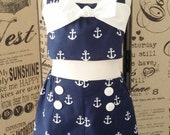 Girls Retro Inspired Playsuit, Girls Nautical NavyOutfit, Girls 2 Piece Halter/Shorts, Girls Summer Outfit, Beach Swimwear, Anchor outfit