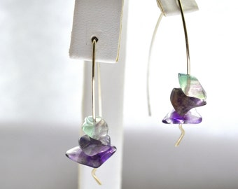 Sale Earrings Fluorite Stone chip squiggle drop Silver
