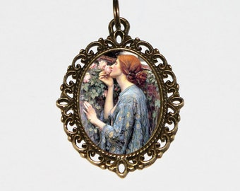 Soul Of The Rose Necklace, My Sweet Rose, John William Waterhouse, Flower Jewelry, Oval Pendant