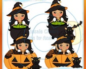 Bewitching LiL Witch Orange 3 Clipart (Digital Download)