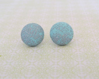 Blue and Silver Fabric Button Earrings
