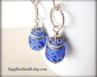 SEA GLASS Earrings, Frosted Blue, White, Tan Artisan Lampwork Glass & Sterling Silver Earrings