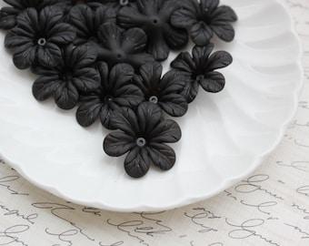 30mm Matte Black Lucite Flowers