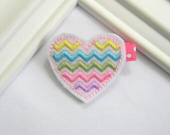 Heart Hair Clip - Chevron Heart Clippie - Valentines Hair Clip