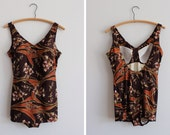 1970s Summer Blossom Swimsuit / Rose Marie Reid Bathing suit