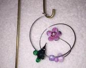 Purple Flower w Green Hummingbird Garden Stake