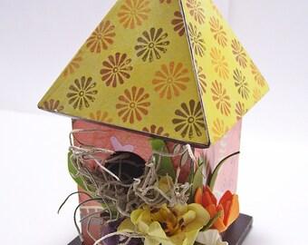 Rock Garden Decoupaged Mini Birdhouse