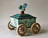 Handmade Box in Shades of Teal and Brown with Wooden Wheels for Gifts and Decor