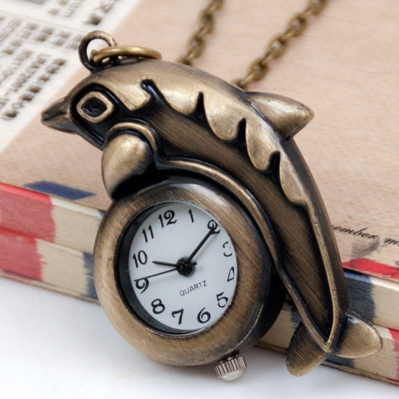 1pcs Antique Bronze  Cartoon dolphin Watch Charms Pendant with lobster claw clasp  Watchnecklace