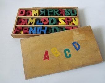 Vintage Educational Wood Letters Box
