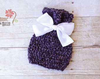 5 DOLLAR SALE - RUSH Ready to Ship, Tulip Beanie in Purple with Bow, 0-3 Months Photography Prop, Purple With White Ribbon