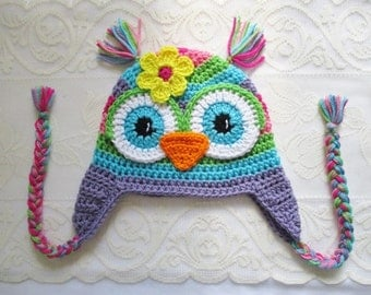 READY TO SHIP - 6 to 12 Month Size - Rainbow Striped Crochet Owl Winter Hat or Photo Prop