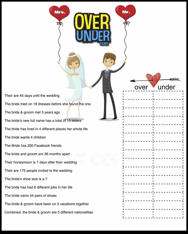 Bridal shower game over or under bride trivia for Non traditional bridal shower games