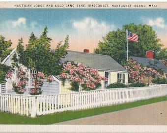 Nautican Lodge and Auld Lang Syne, Siasconset, Nantucket Island, Massachusetts - 1946 Vintage Postcard