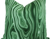 Green Malachite Pillow Cover, Robert Allen 18x18, 20x20, 22x22 or lumbar - Accent Pillow - Throw Pillow Toss Pillow, Pillow cushion
