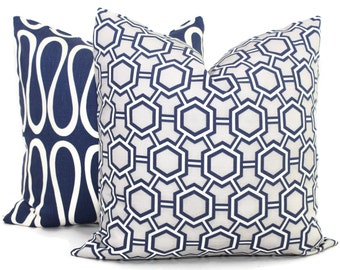 Jonathan Adler Blue and Gray Pillow Cover 18x18, 20x20 or 22x22 or lumbar pillow, Toss Pillow, Pillow Cushion, Throw Pillow, Corbet Storm