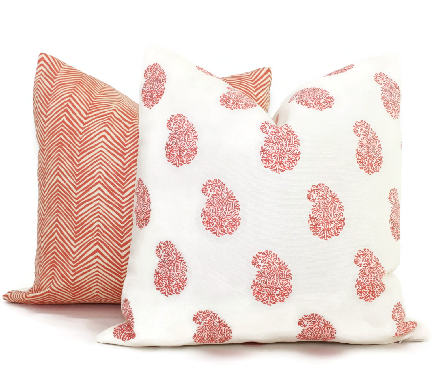 Queen Throw Pillows : New Shrimp Bangalore Pillow Cover Paisley Quadrille by PopOColor