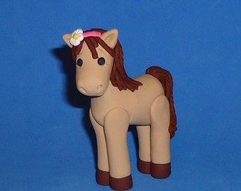 Polymer Clay Tan and Brown Horse Cake Topper